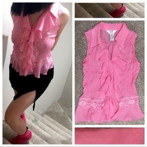 Pink Lace & Ruffles Top